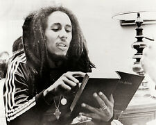 BOB MARLEY 11X14 PHOTO candid with book track suit