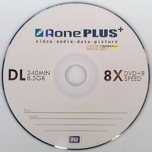 5 AONE Double Layer Branded Non Printable 8.5GB(8x) Gold Edition DVD+R DL