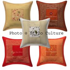 Wholesale Lot 5 Pcs Brocade Cushion Cover Indian Throw Pillow Case Cover Same 16