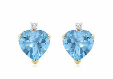 9ct Yellow Gold Diamond And Blue Topaz Heart Stud Earrings Solid Gold Box Gift