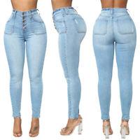 Women Denim Blue Skinny Leggings Pants High Waist Stretch Jeans Pencil Trousers