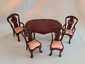 Dollhouse 5 Piece Wood Dining Room Table&4 Upholstered Chairs -Similar ~Bespaq?