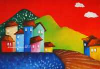 Original ACEO ART oil painting NAIVE ART COLORFULL CITYSCAPE HOUSES RED SKY