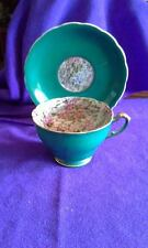 Vintage Chase Hand Decorated Cup & Saucer; Green with Floral; Occupied Japan