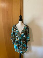 Metro 7 Plus 18/20w Surplice Bodice Open Sleeve Teal Gold Glitter Floral Blouse