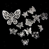 12pcs Mix Tibetan Silver BUTTERFLY Pendant CHARMS for Jewelry Making Crafts