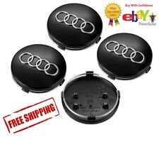 4X AUDI WHEEL CENTER CAPS GLOSS BLACK 60mm A3 A4 A6 A8 S4 TT Q7 S4 S6 S8 MORE!