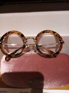MIU MIU ROUND TORTOISESHELL LEOPARD PRINT GLASSES (PRESCRIPTION SHORT SIGHTED)