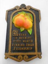 Vintage Black Chalkware Plaque Pears Friendship