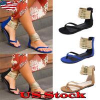 New Women's Thong Open Toe Ankle Strap Gladiator Flip Flops Flat Sandal Shoes
