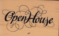 "open house psx Wood Mounted Rubber Stamp 2 1/2 x 1 3/4""  Free Shipping"