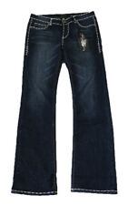 Ed Hardy by Christian Audigier Women's Jeans Blue White Trim Boot Cut Size: 30