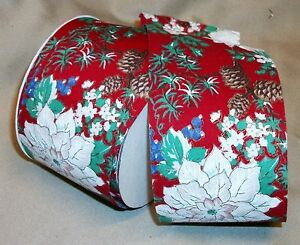 """5 Yds. WHITE POINSETTIA  NOVELTY COTTON FABRIC RIBBON  2 1/2"""" wide"""