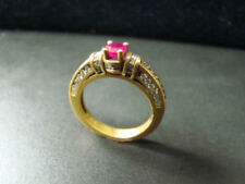 18K Deco style diamond and ruby ring
