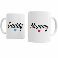 Set Of 2 Mugs Mummy Daddy Parent Pink/Blue Heart Family Tea Coffee Office Cup