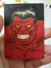 RED HULK HAND DRAWN SKETCH CARD BY MARK SPEARS PSC ACEO