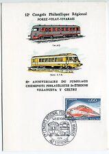CARTE PHILATELIQUE 12 CONGRES ST ETIENNE  1974 TRAIN TGV TALGO RAME ETG