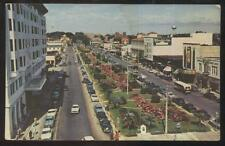 Postcard PENSACOLA FL  North Palafox St Business Storefronts Aerial view 1940's