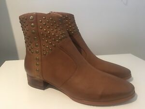 Silent D Leather Boots Tan Moros Studded Size 38 New RRP $229.95 #16