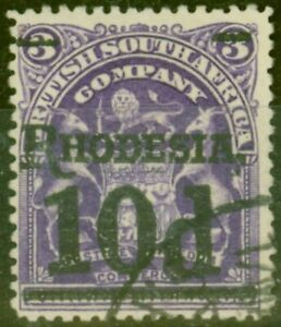 Rhodesia 1909 10d on 3s Dp Violet SG117 V.F.U
