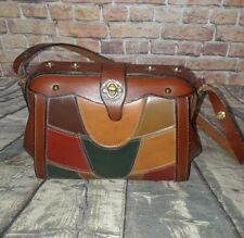 vintage Brown leather multi print boho hippie bucket handbag purse