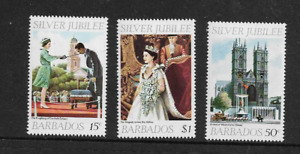 1977 Barbados - Queen Elizabeth  - Silver Jubilee - Full Set of Three - MNH.