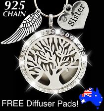 Sister Crystal TREE of LIFE Essential Oil Diffuser 925 Sterling Silver Necklace