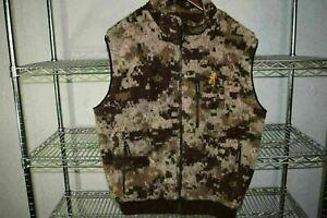 Browning Camo Camouflage Deep Pile Fleece Vest 25% Wool Men's XL