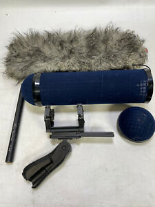 Sennheiser MKH416 microphone with basket and wind jammer