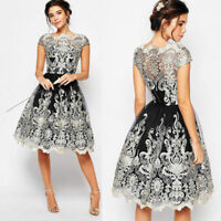 1x Women Lace Floral Short Sleeve Evening Formal Cocktail wedding Party Dress