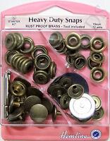 Hemline Heavy Duty Antique Brass Snaps 15mm x12 Set Press Studs Poppers Fastener