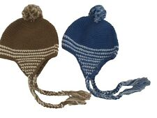 BNWT Babiy boys Brown winter  knitted bobble hat  in brown or blue 3 -6m  6-12 m