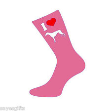 I Love Greyhounds Womens / Ladies Pink Socks