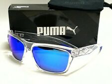 PUMA EXO REVERSE 2 PU0060S 005 Crystal Frame/Blue Mirror Lenses 58mm Sunglasses
