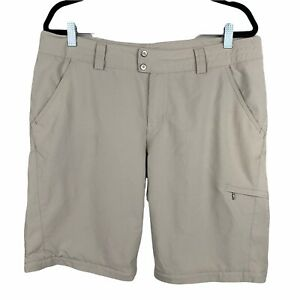 Columbia Women's Outdoor Shorts Size 14 Reg Camping Hiking Vented Beige Modest