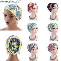 Women Floral Cotton Turban Hat Hijab Muslim Cover Inner Cap Headwear Under Scarf