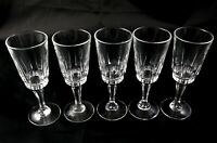 5 vintage french crystal glasses harlequin sherry or small wine champagne