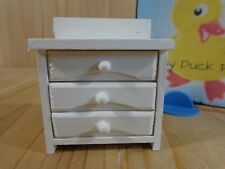 """White Wood Dresser 2.5"""" Dollhouse Furniture 3 Drawers Opens Up"""
