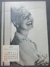 JUNE/JULY 1961 2 SIDED CALENDAR PAGE, DORIS DAY, FABIAN