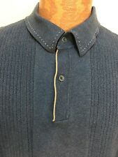 Nat Nast Mens M Blue Cotton Collared Pullover Sweater Contrast Stitches
