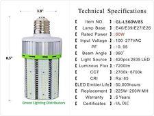 Corn 60 Watt SHORT LED Outdoor Street Corn Garage Light LAMP UL,DLC E39 IP65