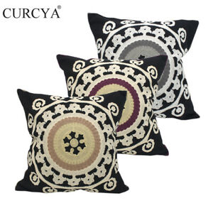 CURCYA Black Throw Pillow Covers Embroidered Cotton Cushion Case Home Decor Gift