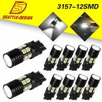 10X White 3157 3156 RV Camper Trailer LED Interior Lamps Bulbs Tail Brake Light