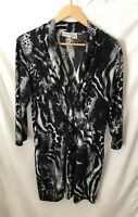 Chico's Womens Dress Black & Beige Leopard Print Size 1 V Neck 3/4 Sleeve Jersey
