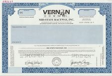 """VERNON DOWNS MID-STATE RACEWAY, INC."" SPECIMEN CAPITAL STOCK; XF BN7058"