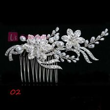STUNNING BRIDAL WEDDING RHINESTONES PEARLS DIAMANTE HAIR COMB CLIP