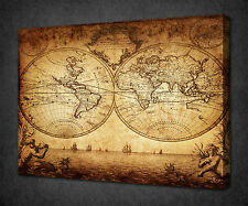 VINTAGE SEPIA WORLD MAP MODERN CANVAS WALL ART PRINT PICTURE READY TO HANG