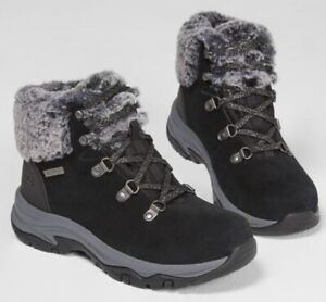 Sketchers Faux Fur Cuff Boots Winter Snow Walking Shoes Memory foam Size 5.5 Uk