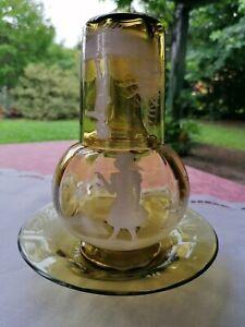 Bottiglia da comodino decoro Mary Gregory vetro soffiato fine 800