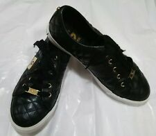 G By Guess Black Quilted Womens Tennis Shoes Gold Hardware Size 8M
